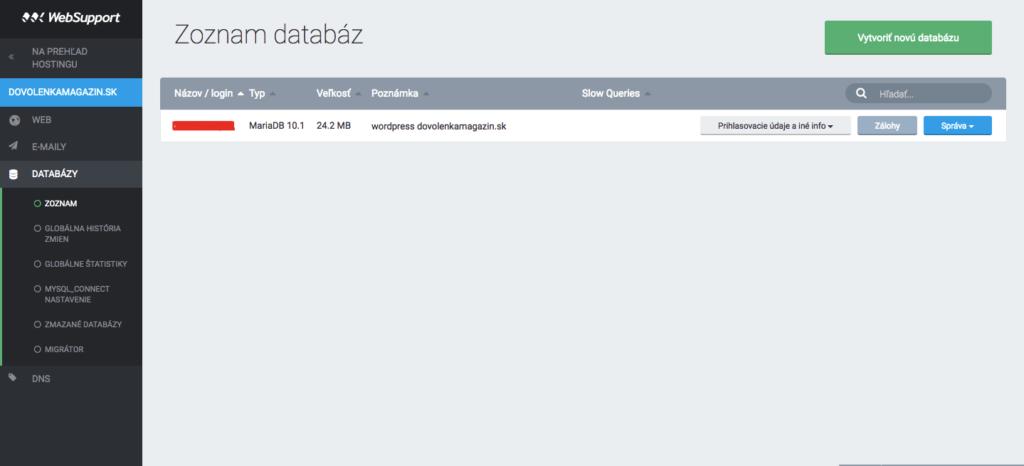 Databáza vášho webu.