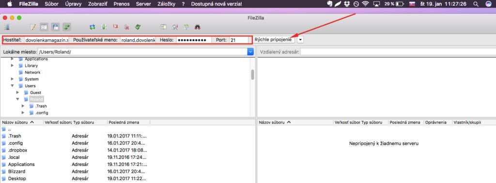 Ako sa pripojiť na FTP cez FileZillu