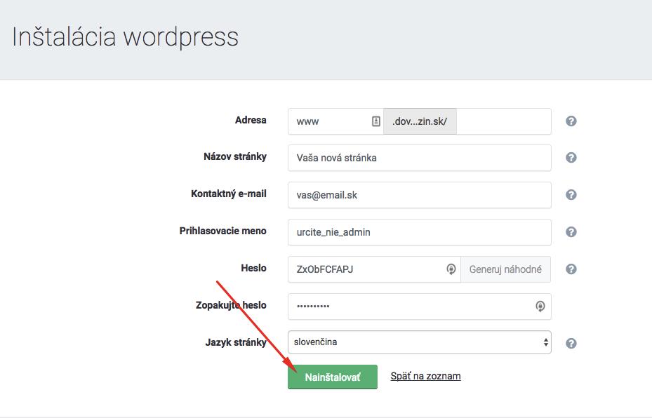 Posledný krok inštalácie WordPressu cez WebSupport.