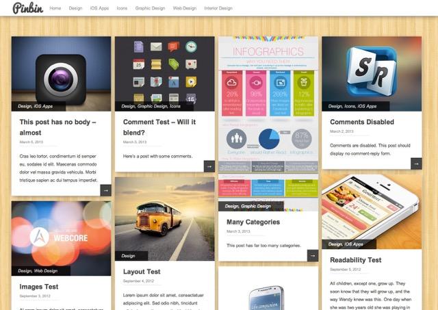 PinBin WordPress šablóna zadarmo