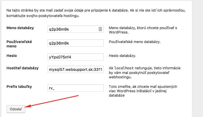 Inštalácia WordPressu cez FTP - údaje z databázy