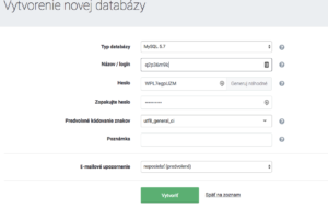 Vytvorenie novej databázy pre WordPress