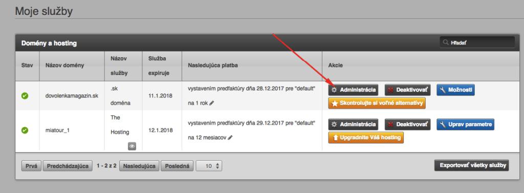 WebSupport administrácia je prehľadná a jednoduchá.