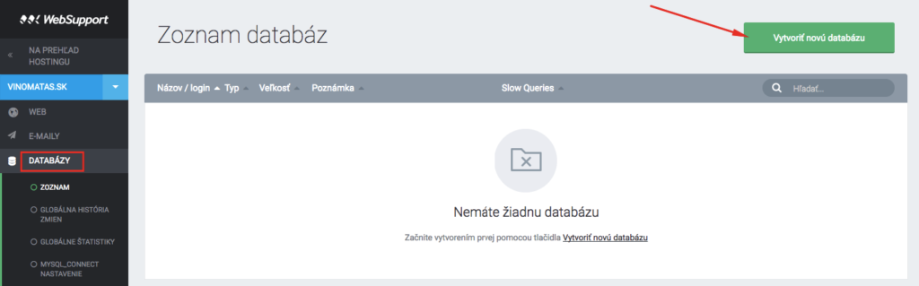 Tvorba databázy cez administráciu WebSupportu