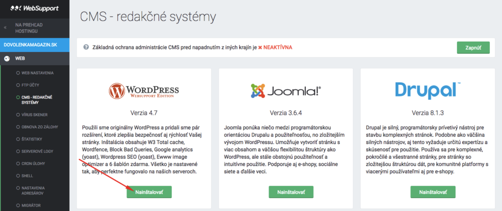 Inštalácia WordPressu cez WebSupport