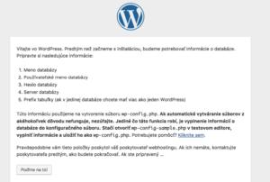 Inštaláciu WordPressu - wp-config