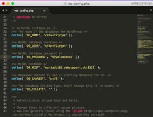 Súbor WP-config.php