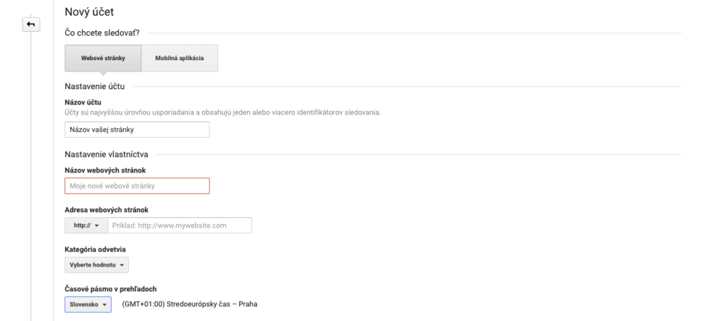 Google Analytics - registrácia