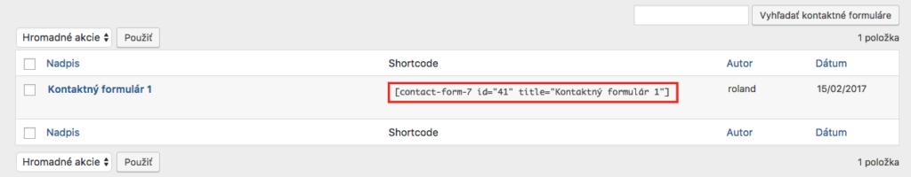 Shortcode kontaktného formulára