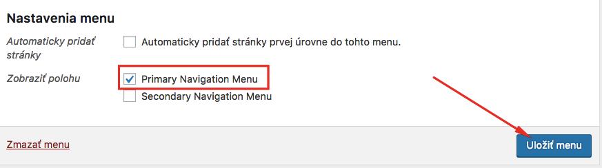 Nastavenie umiestnenia menu na stránke.
