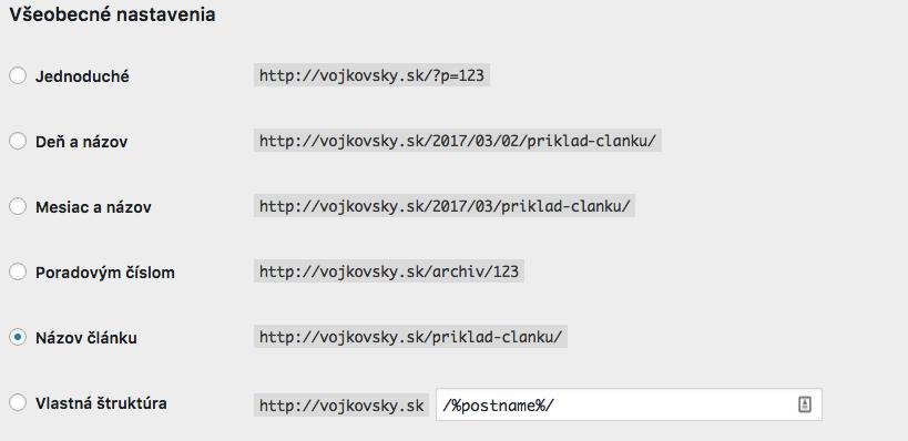 Trvalé odkazy vo WordPresse