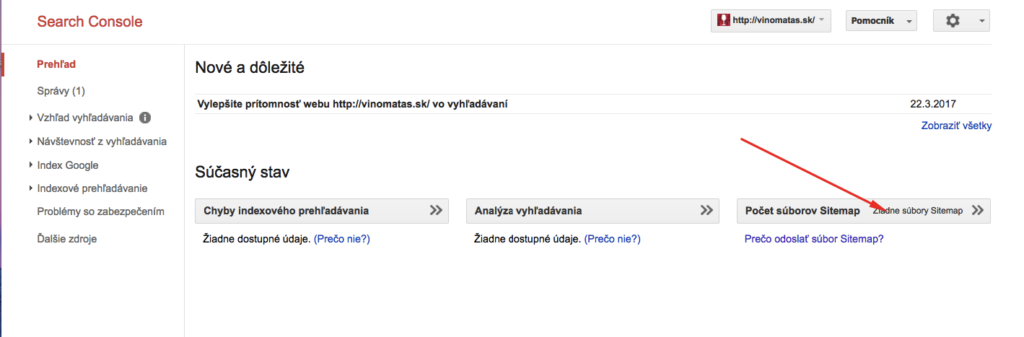 Pridanie sitemapy do Search Console