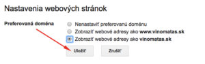 Zobrazovanie web adresy v Search Console