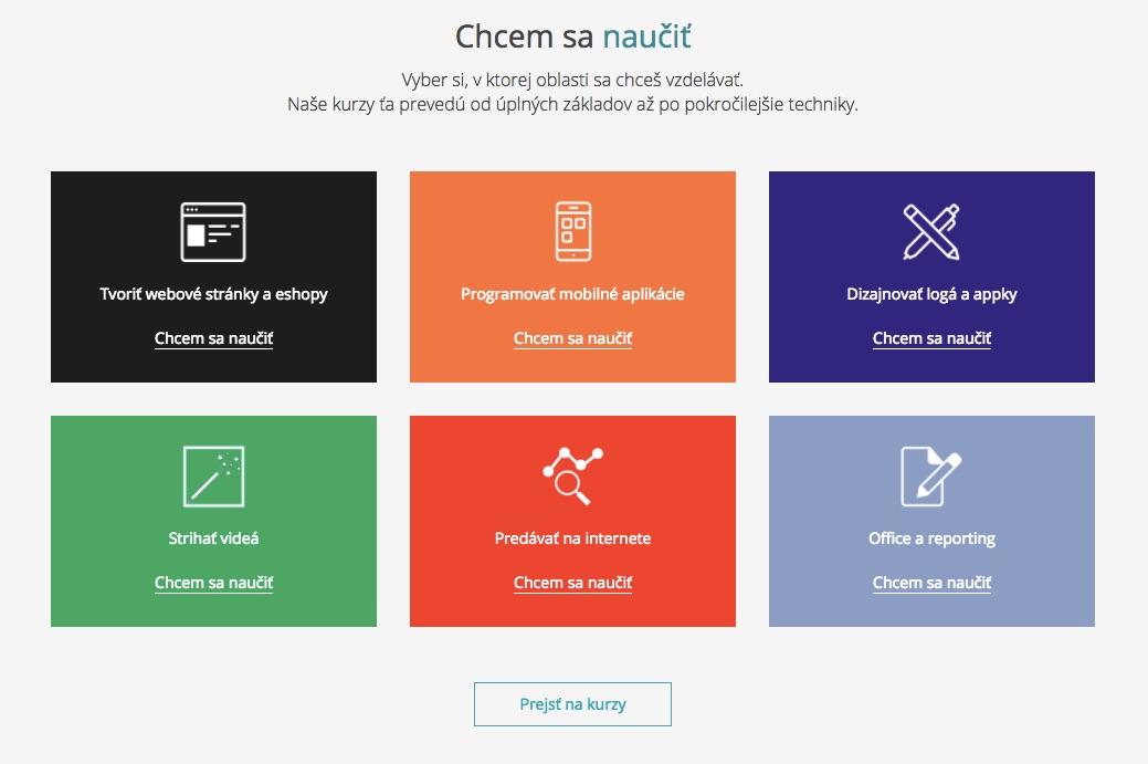 Časť webstránky learn2code.sk, ktorá použila práve informačné boxy