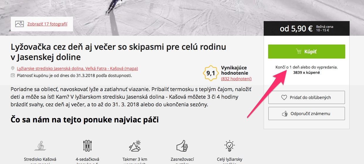 Ponuka na stránke zlavadna.sk