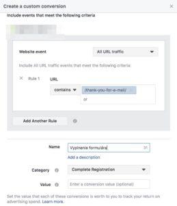 Nastavenie konverzie na Facebooku